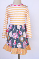 Yellow gray floral ruffle dress 150317 sale