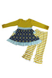 Navy mustard ruffle girls set 150361 sale