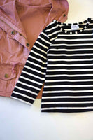 Pink hoodie vest with stripe shirt 2 pcs set