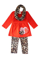 Red heart leopard 3 pcs tunic pants scarf set CKTZ-190134 sale
