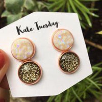 Double White + Cheetah Druzy Earrings Set
