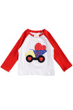 Red sleeve valentine truck applique raglan shirt CXSY-202293
