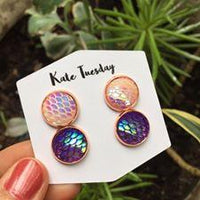 White and Purple Double Mermaid Earrings Set