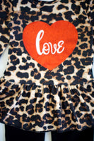 Leopard peplum top with heart pants set CKTZ-204014