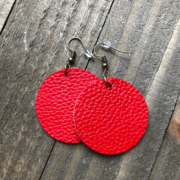 Red Leather Round Earrings