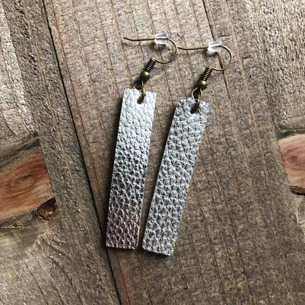 Silver Hanging Bar Leather Earrings