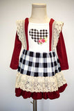 Maroon plaid heart lace dress QZ-319654 sale