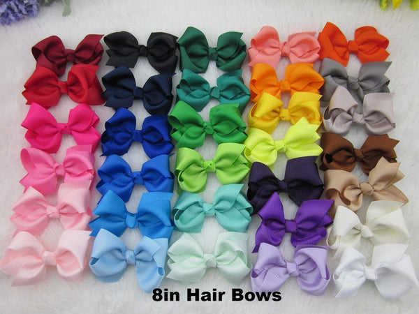 8 inch Solid Color Hair Bow - Alligator Clip