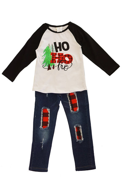 Ho ho ho raglan shirt with jeans set CXCKTZ-400883