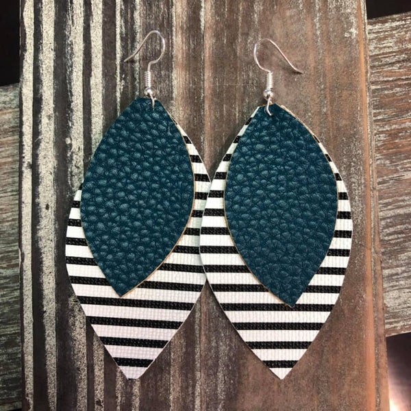 Dark Aqua Stripe Faux Leather Hang Earrings