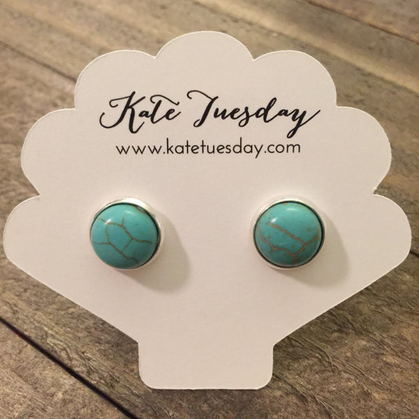 Turquoise Stone 10mm Like Druzy Earrings