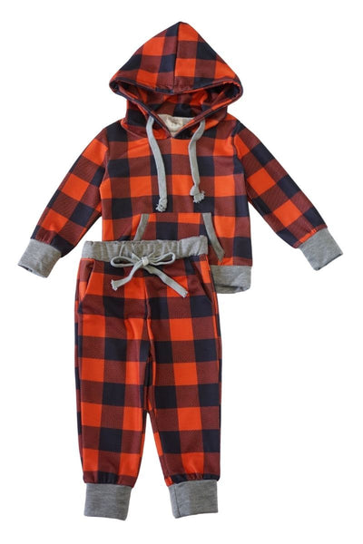Mommy & me red grey check hoodie set