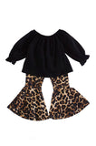 Black top with leopard bell pants set CXCKTZ-503792