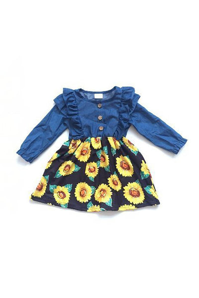 Blue floral with button accent girls dress 580273 sale