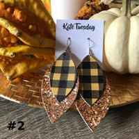 Thanksgiving Glitter and Plaid Faux Leather Earrings