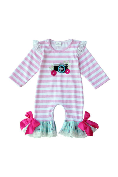 Pink stripe camera applique baby romper 809123 clearance