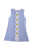 Pineapple embroidery blue gingham scallop dress 100% cotton 910029 sale