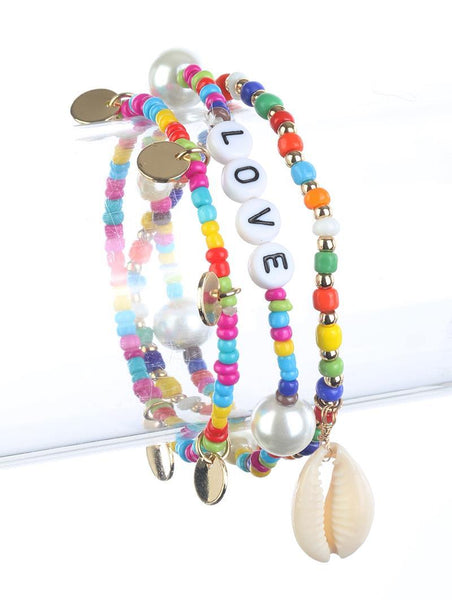 LOVE Fun Rainbow Beaded Bracelet Set