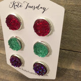 Michelle Set of 12mm Druzy Earrings