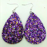 Glitter Leather Teardrop Earrings
