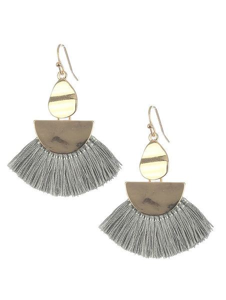 Grey Fringe Earrings