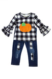 Check pumpkin top with denim jeans set 202866 sale