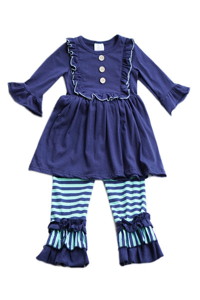 Navy/Stripe Girls two pieces Ruffle set 500908 BEST sale