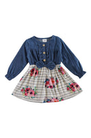 Stripe floral denim dop dress CXQ-400828