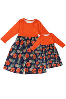 Rust floral maxi dress for girls mommy & me style CXQ-540156 sale