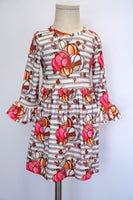 Pumpkin stripe floral bell sleeve dress sale