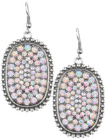 Silvery Pink Crystal Pave Earrings