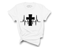 """Heartbeat Cross"" Tee"