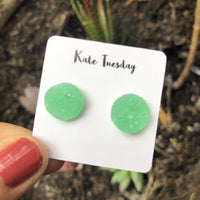 Raw Miami Green Pop 12mm Druzy Earrings