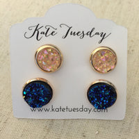 Peach + Blue Druzy Earrings Set