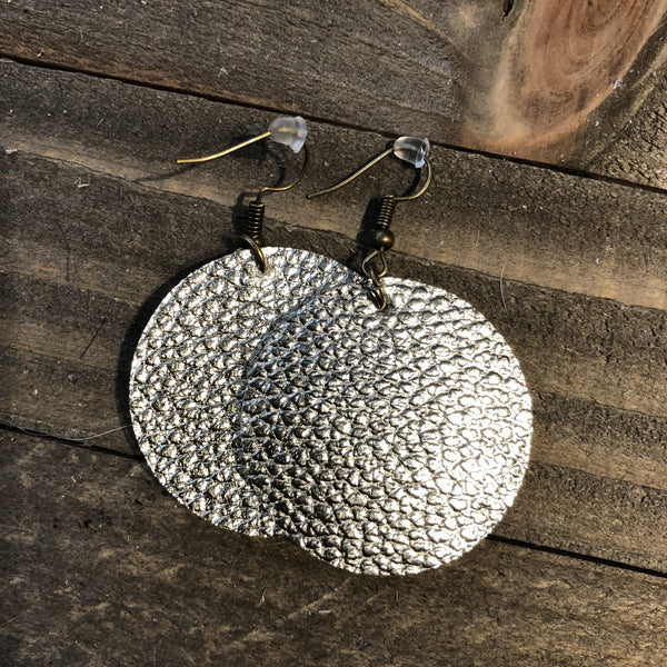 Silver Leather Round Earrings