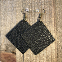 Black Square Leather Teardrop Earrings