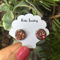 Kate Rose + Silver Druzy Circular Earrings