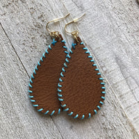 Brown Leather Stitched Earrings