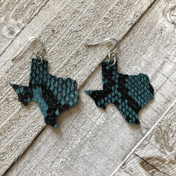 Teal Gator Texas State Shape Leather Earrings
