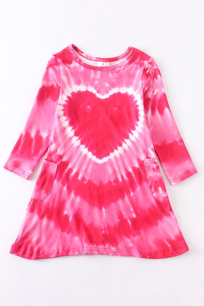Pink tie dye heart dress
