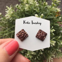 Dark Rose Gold Square Druzy Earrings