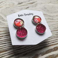 Cherry and Pink Druzy Double Set of Earrings