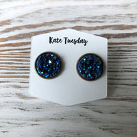 Blue Sparkle Druzy Earrings
