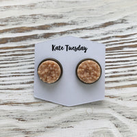Matte Peach Druzy Earrings