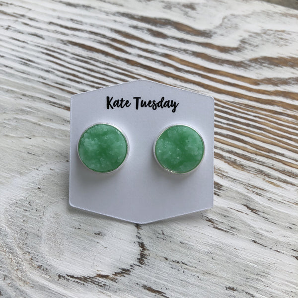 Miami Sea Green Matte Druzy Earrings