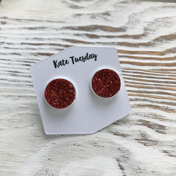 Red Grain Sparkle Druzy Earrings