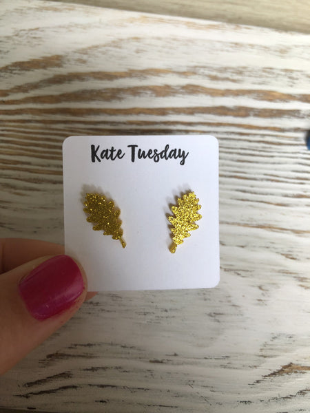 Golden Leaf Sparkly Stud Acrylic Earrings