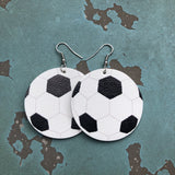 Soccer Faux Leather Hang Earrings
