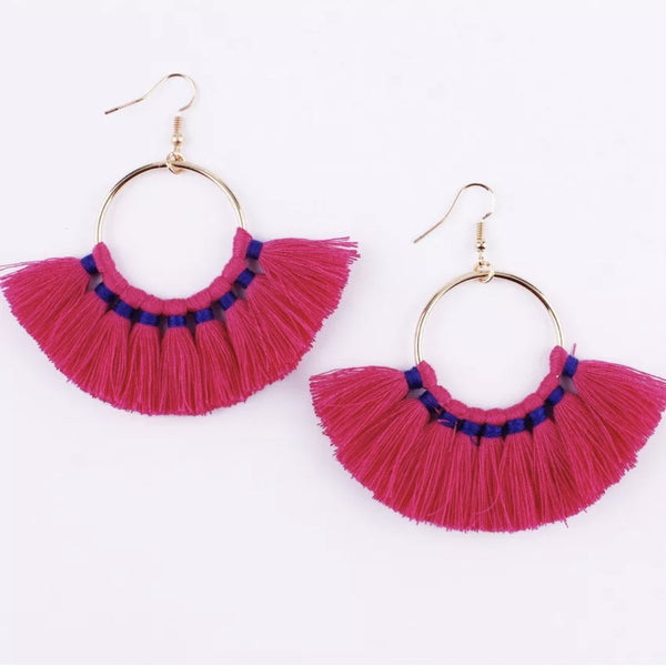 Kate Tassel Hoop Earrings Hot Pink