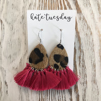 Hot Pink Fuchsia Fall Cheetah Tassel Earrings